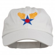 Army Air Corps Military Embroidered Washed Cap - White