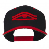 All Seeing Eye Embroidered Flat Bill Cap - Black Red