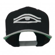 All Seeing Eye Embroidered Flat Bill Cap - Black Silver
