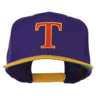 Greek Alphabet Tau Embroidered Classic Two Tone Cap - Purple Gold
