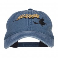 Halloween Witch Embroidered Washed Cap - Navy