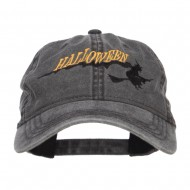 Halloween Witch Embroidered Washed Cap - Black
