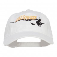 Halloween Witch Embroidered Washed Cap - White