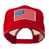 6 Panel Mesh American Flag White Patch Cap - Red