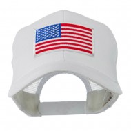 6 Panel Mesh American Flag White Patch Cap - White