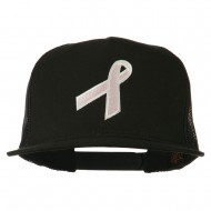 Breast Cancer Ribbon Embroidered Mesh Cap - Black