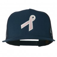 Breast Cancer Ribbon Embroidered Mesh Cap - Navy