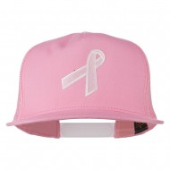 Breast Cancer Ribbon Embroidered Mesh Cap - Pink