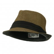 Toyo Fedora Hat with Black Band - Brown