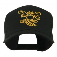 Animal Mascot Bee Outline Embroidered Cap - Black
