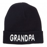 Wording of Grandpa Embroidered Cuff Beanie - Black