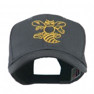 Animal Mascot Bee Outline Embroidered Cap - Charcoal