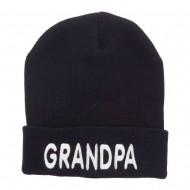 Wording of Grandpa Embroidered Cuff Beanie - Navy
