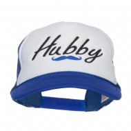 Hubby Mustache Embroidered Foam Mesh Cap - Royal White