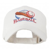 Baseball Bat and Ball Embroidery Cap - White
