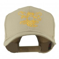 Animal Mascot Bee Outline Embroidered Cap - Khaki