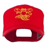 Animal Mascot Bee Outline Embroidered Cap - Red