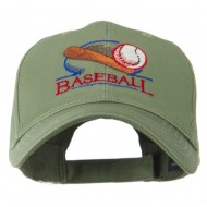 Baseball Bat and Ball Embroidery Cap - Olive