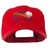 Baseball Bat and Ball Embroidery Cap - Red