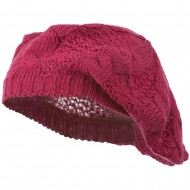 Big Cable Knitted Beret - Fuchsia
