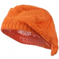 Big Cable Knitted Beret - Orange