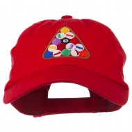 Balls Pool Rack Embroidered Low Profile Washed Cap - Red