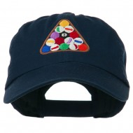 Balls Pool Rack Embroidered Low Profile Washed Cap - Navy