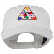 Balls Pool Rack Embroidered Low Profile Washed Cap - White