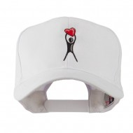 Breast Cancer Body Figure Heart Embroidery Cap - White
