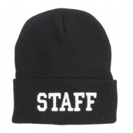 Staff Letter Embroidered Long Beanie - Black