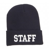 Staff Letter Embroidered Long Beanie - Navy