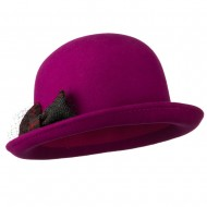 Dressy Woman's Bowler Hat with Grey and Red Plaid Bow - Fuchsia