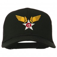 12th Air Force Badge Embroidered Mesh Cap - Black