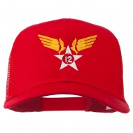 12th Air Force Badge Embroidered Mesh Cap - Red