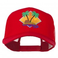 Beach Hut Embroidered Mesh Back Cap - Red