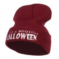 Have a Bootiful Halloween Embroidered Beanie - Maroon