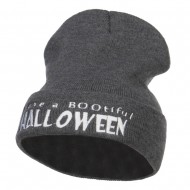 Have a Bootiful Halloween Embroidered Beanie - Dk Grey