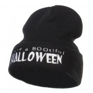 Have a Bootiful Halloween Embroidered Beanie - Black