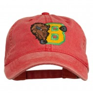 Small Bison Mascots Embroidered Washed Cap - Red