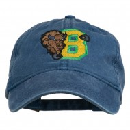 Small Bison Mascots Embroidered Washed Cap - Navy