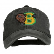 Small Bison Mascots Embroidered Washed Cap - Black