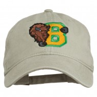 Small Bison Mascots Embroidered Washed Cap - Stone
