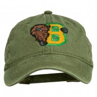 Small Bison Mascots Embroidered Washed Cap - Olive Green