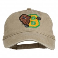 Small Bison Mascots Embroidered Washed Cap - Khaki