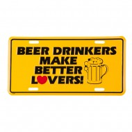Beer Drinkers 3D License Plate - Yellow