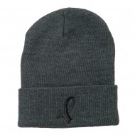 Black Ribbon Skin Cancer Embroidered Long Beanie - Grey