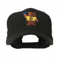 Bear with Blue Flag Mascot Embroidery Cap - Black