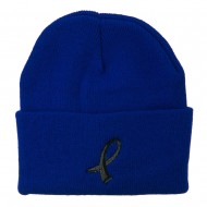 Black Ribbon Skin Cancer Embroidered Long Beanie - Royal Blue