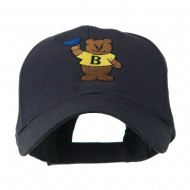 Bear with Blue Flag Mascot Embroidery Cap - Navy