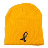 Black Ribbon Skin Cancer Embroidered Long Beanie - Yellow